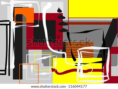 Abstract image of geometric shapes on a gray background.
