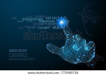Abstract image of Hacker Activity in the form of a starry sky or space, consisting of points, lines, and shapes in the form of planets, stars and the universe. Vector cyber attack. RGB Color mode