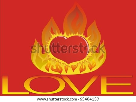 Love Heart Abstract. Heart burning at love-fire.