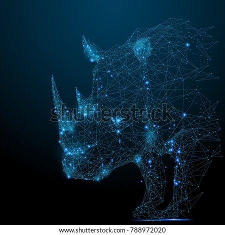 Abstract image of rhinoceros in the form of a starry sky or space, consisting of points, lines, and shapes in the form of planets, stars and the universe. Vector rhino. RGB Color mode