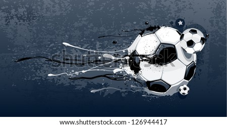 Abstract image of soccer balls with liquid effect. Graffiti style with dirty grunge elements.