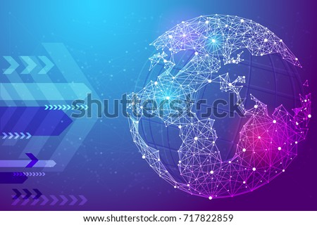 Stock Photo Abstract image planet Earth in the form of a starry sky or space, consisting of points, lines, and shapes in the form of planets, stars and the universe. Earth vector wireframe concept. Blue purple