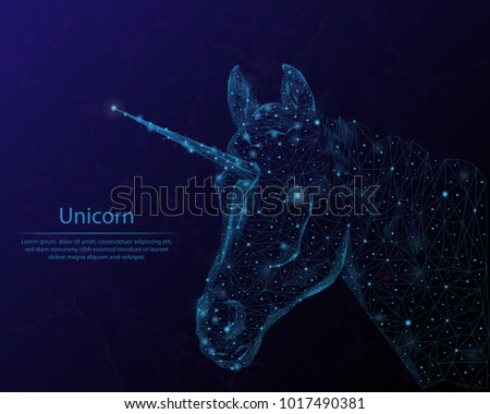 Stock Photo Abstract image unicorn in the form of constellations and starry sky, consisting of points and lines.