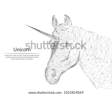 Abstract image unicorn in the form of lines and dots, consisting of triangles and geometric shapes. Low poly vector background.