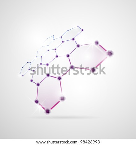 Abstract images of molecular structures in 3D. Eps 10