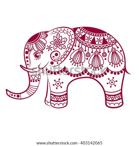 Abstract Indian elephant. Carved elephant. Stylized fantasy patterned elephant. Hand drawn vector illustration with traditional oriental floral elements.