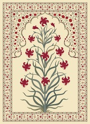 Abstract Indian floral rug design, Persian carpet, tribal vector texture.