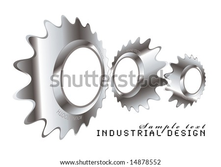 Abstract industrial design with a metal cog logo