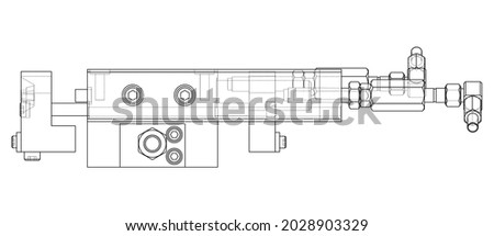 Abstract industry object concept. Vector rendering of 3d. Wire-frame style. The layers of visible and invisible lines are separated Photo stock ©