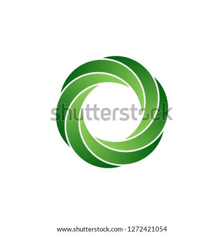 Abstract infinite loop logo, green circle icon