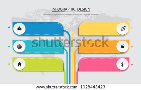 Abstract  info graphic template with a six steps . Business circle with options for diagram, web design. Vector,illustration.
