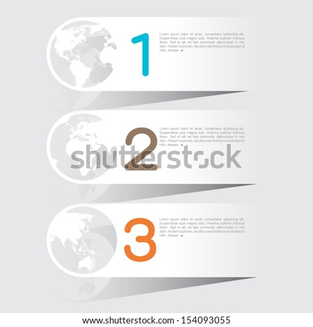 Abstract info-graphics world options template. Vector illustration. can be used for work flow layout, diagram, business step options, banner, web design