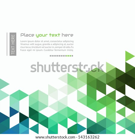 Abstract infographic background made up of blue and green triangular shapes