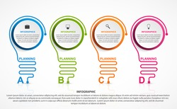Abstract infographic with light bulb. Infographics for business presentations or information banner