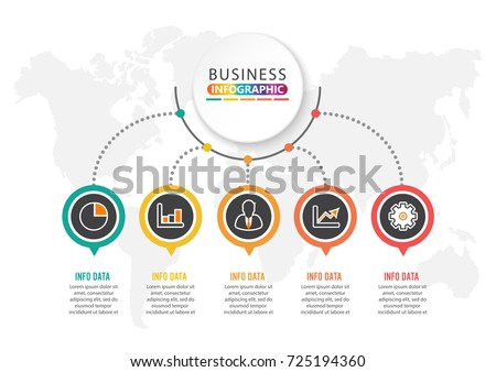 Abstract infographics number options template. Vector illustration. Can be used for workflow layout, diagram, business step options, banner, web design. Stroke icons.
