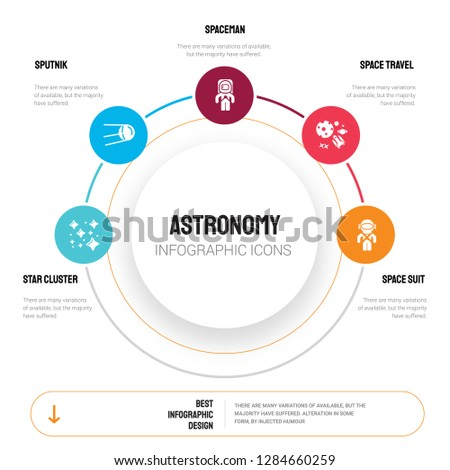 Abstract infographics of astronomy template. Star Cluster, Sputnik, Spaceman, Space travel, suit icons can be used for workflow layout, diagram, business step options, banner, web design.