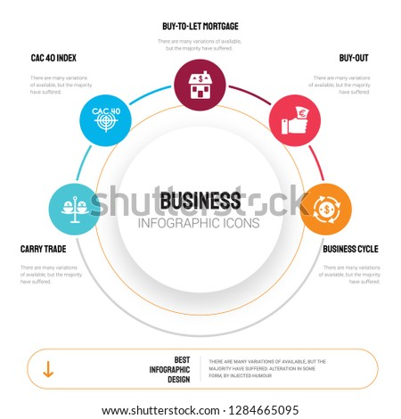 Abstract infographics of business template. Carry trade, CAC 40 index, Buy-to-let mortgage, Buy-out icons can be used for workflow layout, diagram, step options, banner, web design.