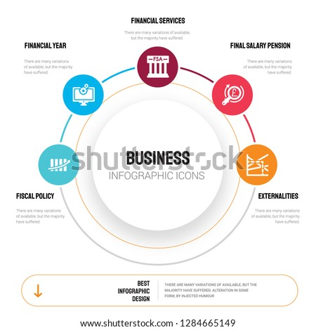 Abstract infographics of business template. Fiscal policy, Financial year, Services Authority icons can be used for workflow layout, diagram, step options, banner, web design.