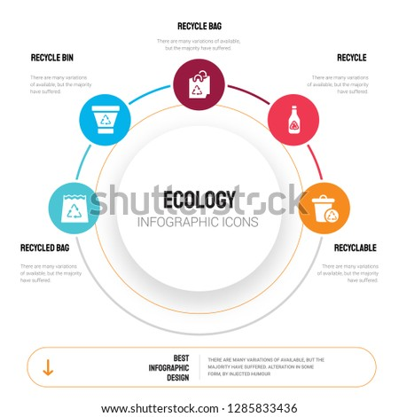 Abstract infographics of ecology template. Recycled bag, Recycle bin, Recycle, Recyclable icons can be used for workflow layout, diagram, business step options, banner, web design.