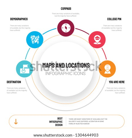 Abstract infographics of maps and locations template. Destination, Demographics, Compass, College Pin icons can be used for workflow layout, diagram, business step options, banner, web design.
