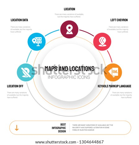 Abstract infographics of maps and locations template. Location off, location data, Location, Left chevron icons can be used for workflow layout, diagram, business step options, banner, web design.