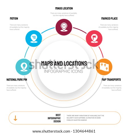 Abstract infographics of maps and locations template. National Park Pin, Motion, Minus Location, Marked Place icons can be used for workflow layout, diagram, business step options, banner, web design.