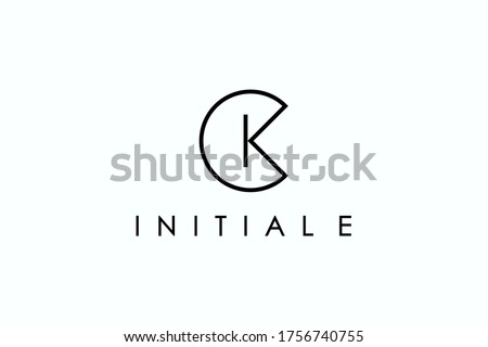 Abstract Initial Letter C and K Linked Logo. Geometric Linear Style isolated on White Background. Usable for Business and Branding Logos. Flat Vector Logo Design Template Element. Stok fotoğraf ©