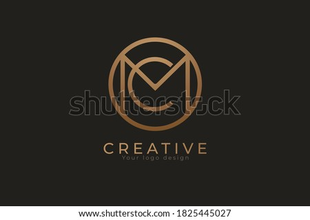 Abstract initial letter C and M logo,circle line and letter CM combination, usable for branding and business logos, Flat Logo Design Template, vector illustration Zdjęcia stock ©