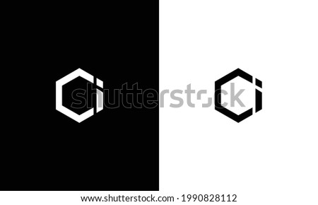 Abstract initial letter CI OI. Vector letter logo with white and black color. Foto stock ©
