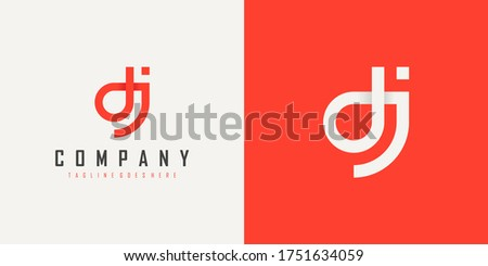 Abstract Initial Letter D and J Linked Logo. Red Linear Style isolated on Double Background. Usable for Business, Technology and Branding Logos. Flat Vector Logo Design Template Element. Stock fotó ©