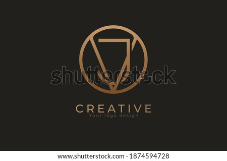 Abstract initial letter J and V logo,usable for branding and business logos, Flat Logo Design Template, vector illustration Stock fotó ©