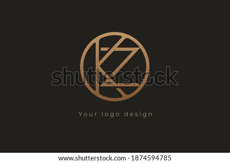 Abstract initial letter K and Z logo,usable for branding and business logos, Flat Logo Design Template, vector illustration Stok fotoğraf ©