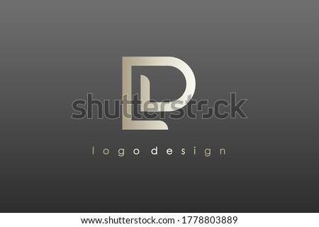 Abstract Initial Letter L and P Linked Logo. Gold Linear Style isolated on Black Background. Usable for Business, Technology and Branding Logos. Flat Vector Logo Design Template Element Stock fotó ©
