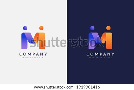 Abstract Initial Letter M Logo Design. Creative Purple Orange Connecting Partnership People with Origami Style. Vector Logo Illustration.