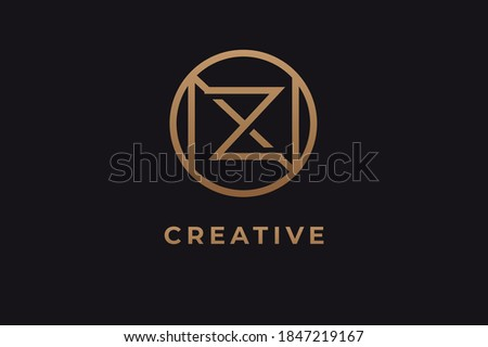 Abstract initial letter N and Z logo,usable for branding and business logos, Flat Logo Design Template, vector illustration Stock fotó ©