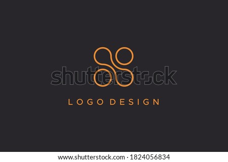 Abstract Initial Letter N Logo. Gold Outline Circle Shapes Dot Liquid isolated on Black Background. Usable for Business and Technology Logos. Flat Vector Logo Design Template Element. Stock fotó ©