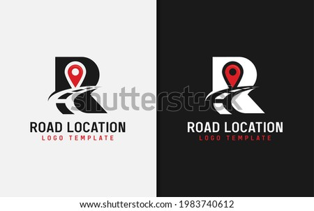 Abstract Initial Letter R Combined with Asphalt Road Silhouette and Pin Location Symbol Logo Design. Stock fotó ©