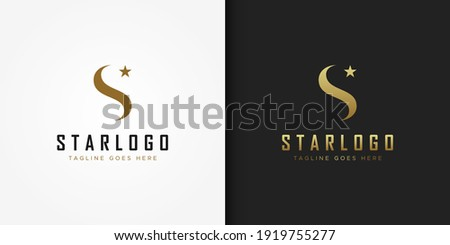 Abstract Initial Letter S Star Logo. Gold Wave S Letter with Star Icon Combination isolated on Double Background. Usable for Business and Branding Logos. Flat Vector Logo Design Template Element.