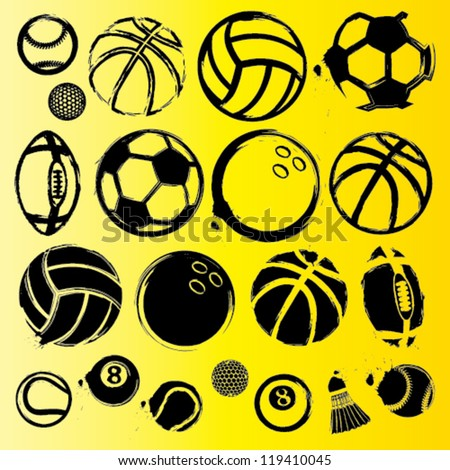 abstract ink grunge vector balls vector set