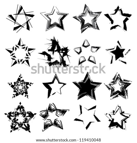 abstract ink grunge vector stars set