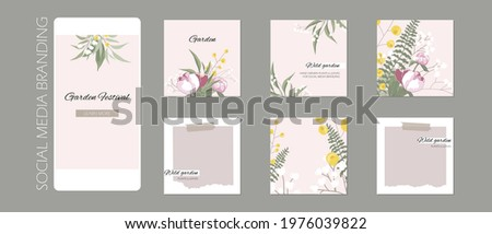 abstract Instagram story post feed background, web banner template with copy space. green floral plant spring herb layout mock up. for beauty, jewelry, skin care, wedding, make up, food, restaurant