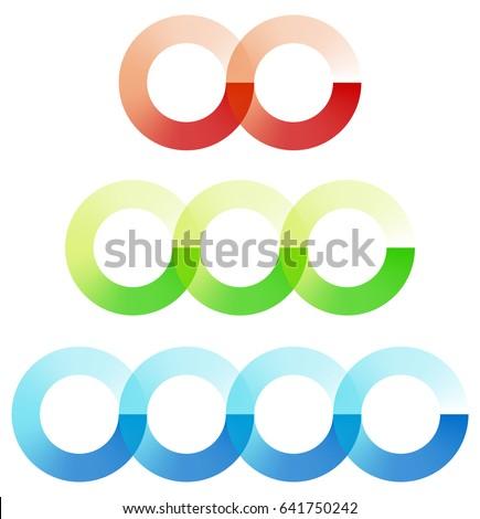 Abstract interlocking circles element set with 3 variation (2, 3 and 4 circle)
