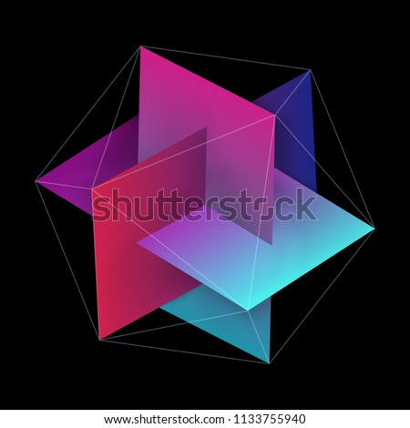 Abstract Interlocking Colorful Rectangles with Hexagonal Lines. Three Dimensional Symbol Design Isolated on Black Background. EPS10 Vector.