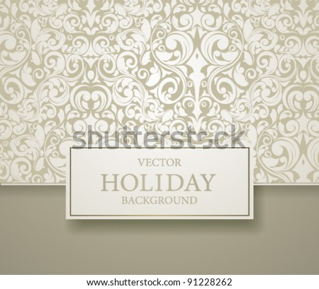 Abstract invitation frame vector illustration with delicate seamless background.