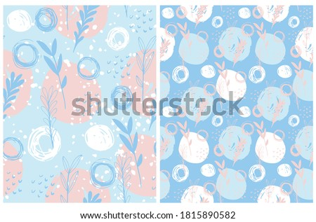 Abstract Irregular Floral Seamless Vector Patterns. White and Pink Hand Drawn Twigs and Dots on a Light Blue Background. Freehand Scribbles and Leaves Backdrop. Infantile Style Garden Print.  Stockfoto ©