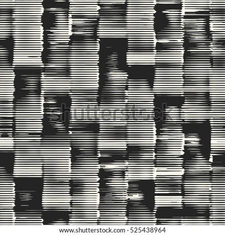 Abstract irregular striped block motif. Seamless pattern.