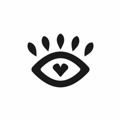 Abstract isolated eye with heart and lashes. Icon, symbol, sign. Flat vector illustration.