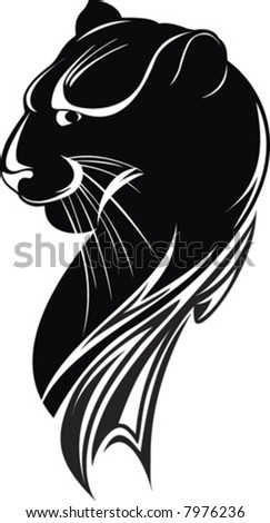 abstract isolated head of the black panther on white background
