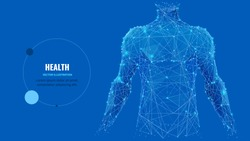 Abstract isolated human body on blue background. Polygonal top of body of adult man with polygons, particles, lines and connected dots. Medicine and healthy life digital concept. Low poly wireframe.