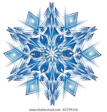 Abstract isolated vector snowflake. Illustration.
